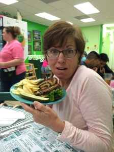 Tammy and her BL Fried Green Tomato sandwich.