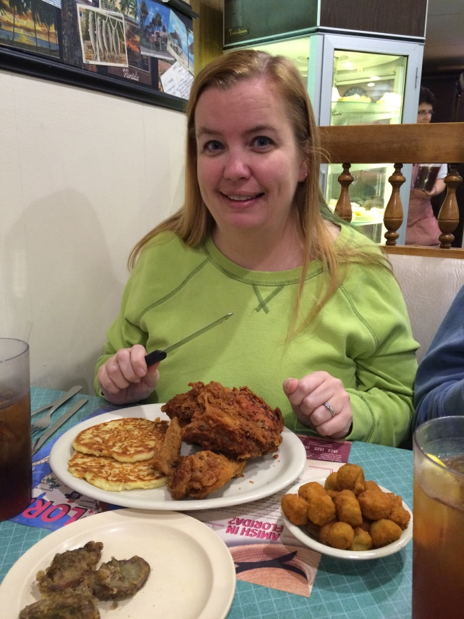Yours truly with fried chicken, potato cakes, and fried okra.