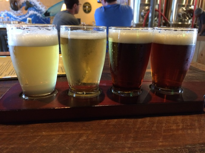 My sampler from left to right: Whitewater Wit Bier, Paddlepuss Blonde, Porter Pounder, and Wye Nut Brown.