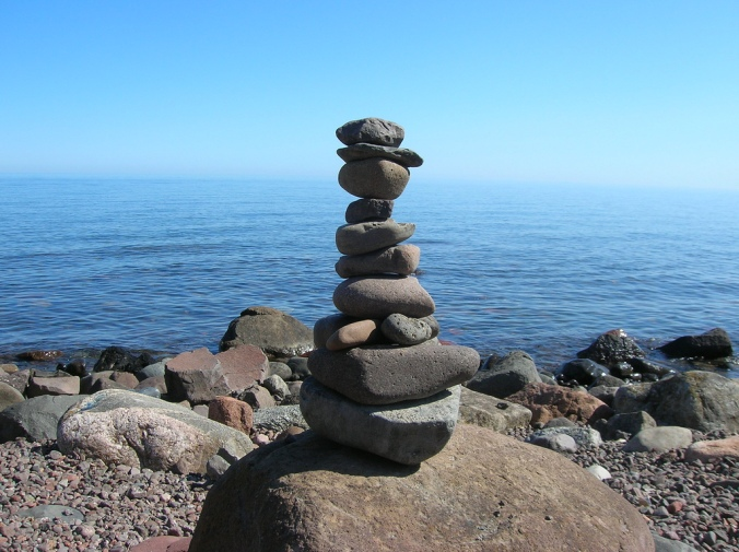 A cairn we built on the pebble beach in Little Marais, MN.