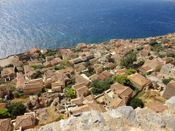 The view from the upper town in Monemvasia.