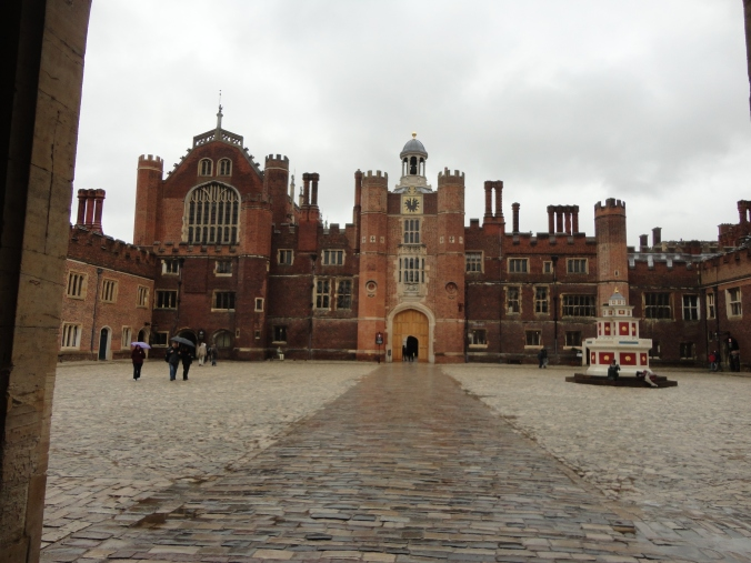 Front facade of Hampton Court Palace in all its Tudor glory.