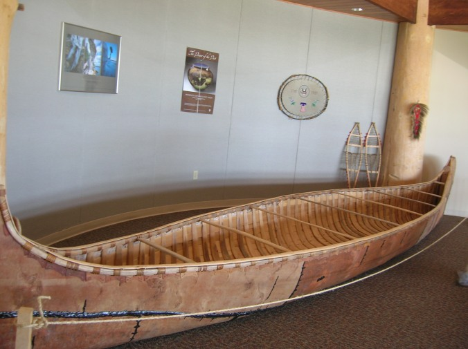 A finished birch bark canoe