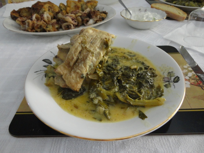 Roasted lamb and greens in avgolemino sauce.