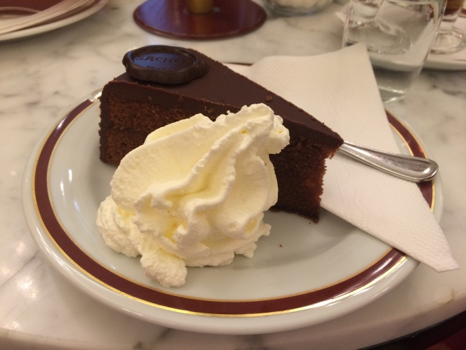 Sacher torte: chocolate cake with apricot jam filling, chocolate ganache, and, of course, whipped cream.