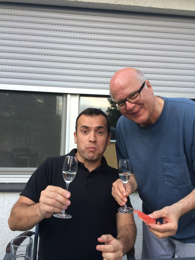 Sylvain and Kosta sample the schnapps.