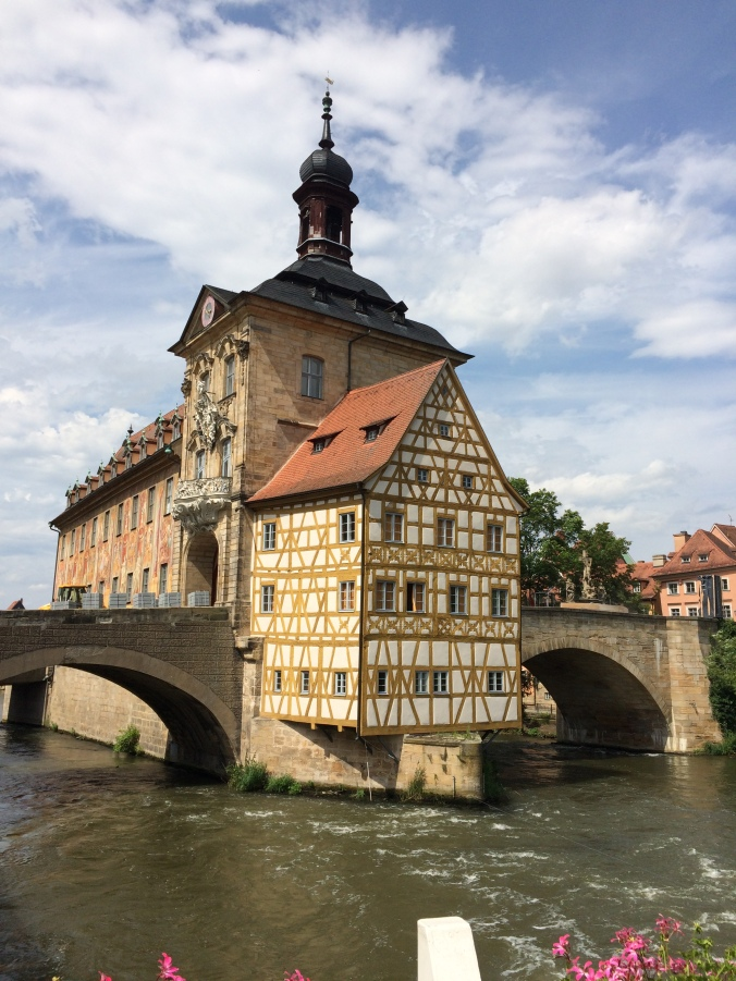 The town hall in the middle of the river.